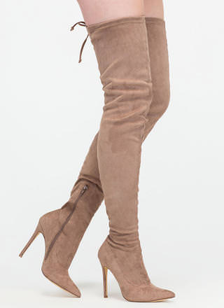 Crush Hard Faux Suede Thigh-High Boots