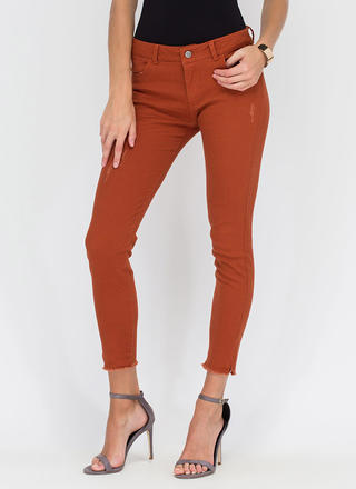 Make The Cut-Off Fringed Skinny Jeans