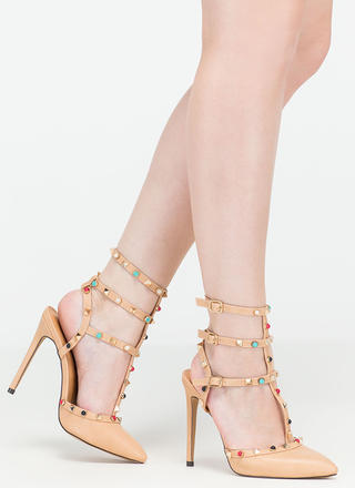 Rock Party Pointy T-Strap Heels