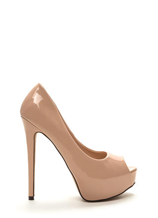 High Voltage Peep-Toe Platform Pumps