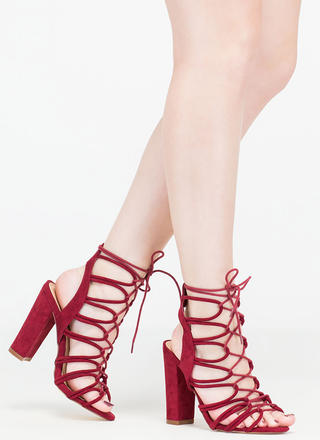 Finding Loopholes Lace-Up Chunky Heels