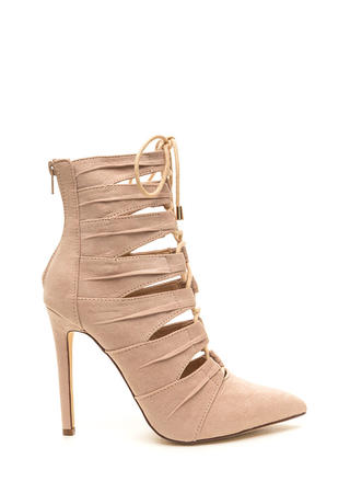 Pretty Pleats Faux Suede Lace-Up Booties