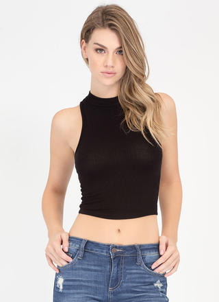 Easy Going Cropped Rib Knit Top