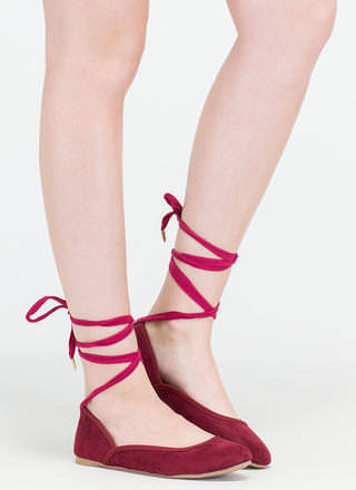 Tie You Over Faux Suede Lace-Up Flats