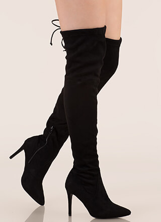Cheap Fake Black Faux Suede Mid Heel Thigh Boot Pretty Little Thing Free Shipping Find Great VyZn5L
