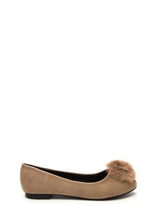 Secret Crush Furry Pom-Pom Ballet Flats