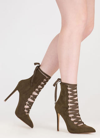 About Town Faux Suede Lace-Up Booties