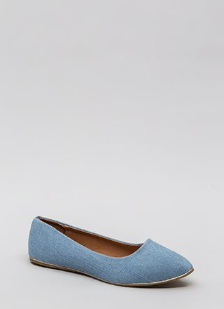 Full Gleam Ahead Pointy Denim Flats