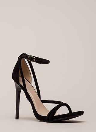 Haute Night Strappy Faux Suede Heels