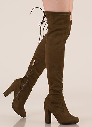 Drawstring Along Chunky Thigh-High Boots