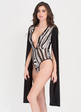 Ice Queen Sparkly Cape Sleeve Bodysuit