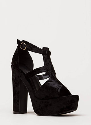 Crushing Blow Chunky Velvet Heels