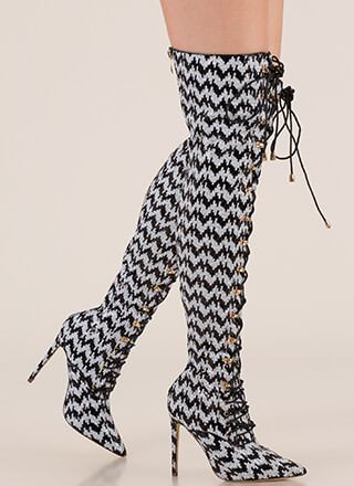 Walk Tall Sequin Zigzag Thigh-High Boots