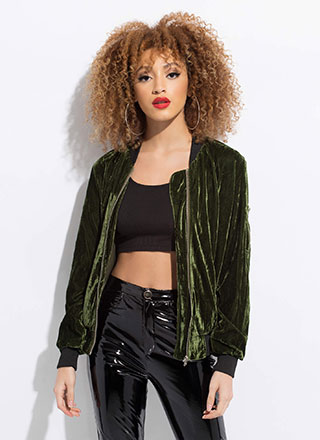 Warm To Hot Velvet Bomber Jacket