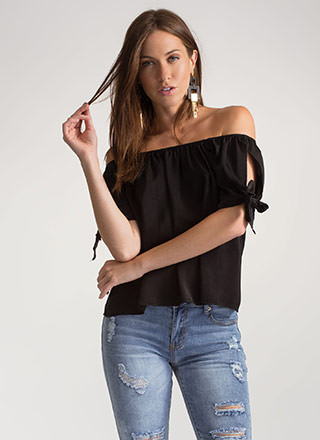 Tied Game Split Sleeve Off-Shoulder Top