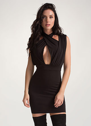 Twist Of Fate Ruched Crisscrossed Dress