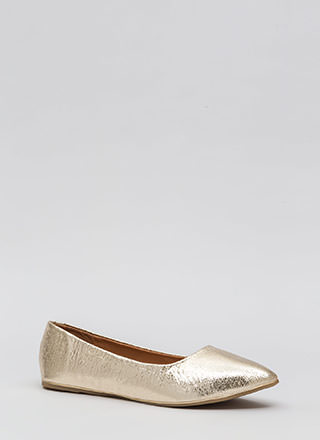 Full Gleam Ahead Pointy Metallic Flats