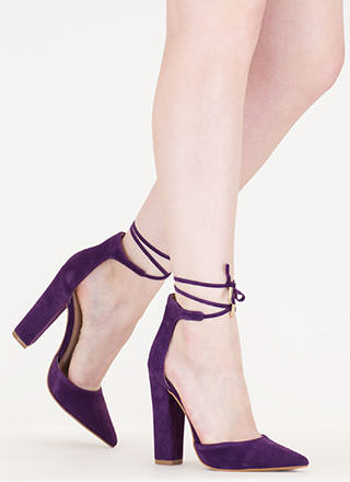 Tied For First Pointy Chunky Heels