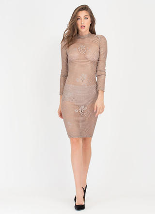 Sheer Luck Metallic Lace Midi Dress