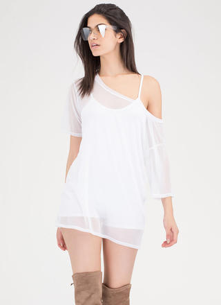See Thru You Oversized Sheer Mesh Tee