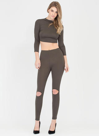 Slit Personality Top And Legging Set