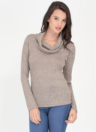 Cozy Feeling Cowl Neck Knit Top