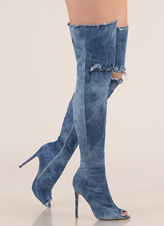 Distress Signal Denim Thigh-High Boots