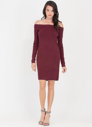 Shrug It Off-Shoulder Sweater Dress