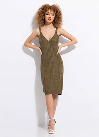 Cable Knit Me Up Midi Tank Dress