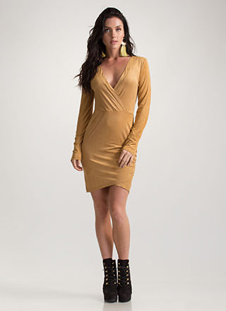 Soft Touch Faux Suede Tulip Hem Dress