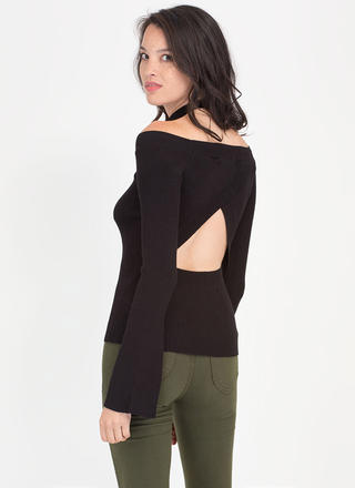 New Angle Cut-Out Off-Shoulder Top