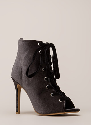 Luxe Good Lace-Up Peep-Toe Velvet Heels