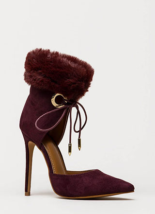 All Fur One Pointy Laced Heels