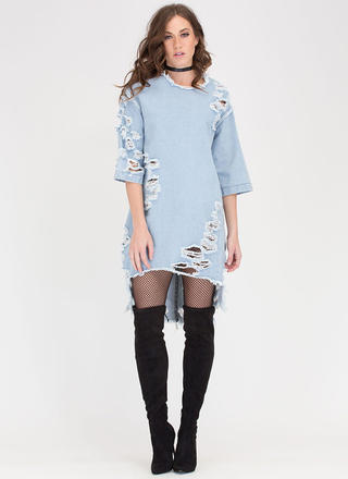 Jean Chaser Distressed High-Low Dress