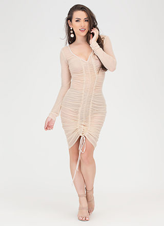 Sheer Delight Ruched Open Back Dress