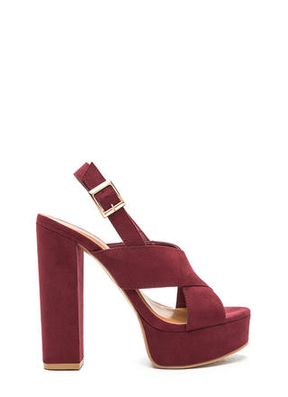 X-Rated Chunky Faux Suede Platform Heels