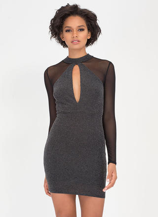 Sparkles Will Fly Mesh Sleeve Dress