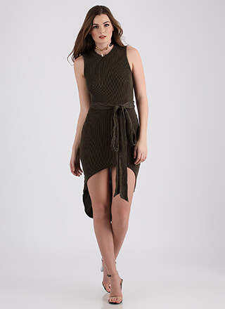 Chic Instinct Ribbed High-Low Dress