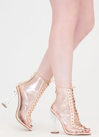 Clear-Cut Lace-Up Chunky Heels