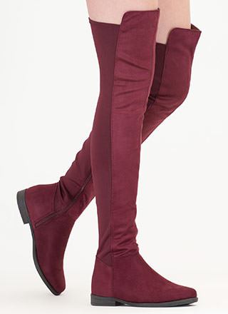 Two-Time Faux Suede Thigh-High Boots