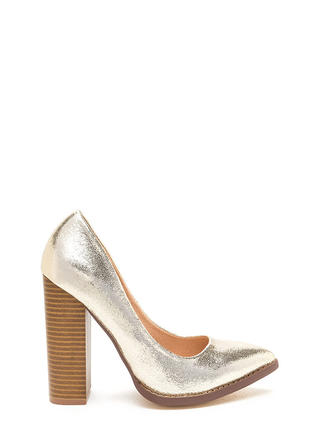 Point At Me Chunky Metallic Pumps
