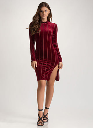 Fall In Line Sheer Velvet Mockneck Dress