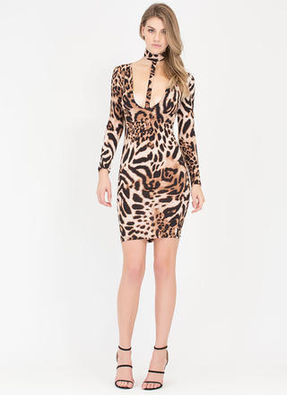 Jungle Bae Plunging Leopard Midi Dress