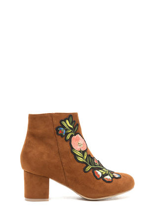 Autumn Stroll Embroidered Floral Booties