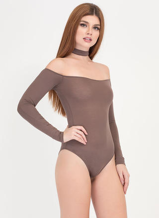 Connected Off-Shoulder Choker Bodysuit