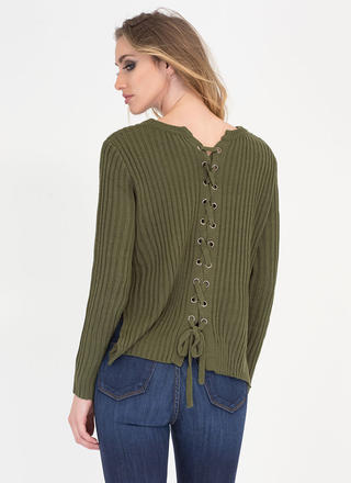 Let's Split It Lace Back Knit Sweater