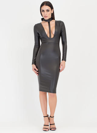 Fit To A T-Strap Faux Leather Dress