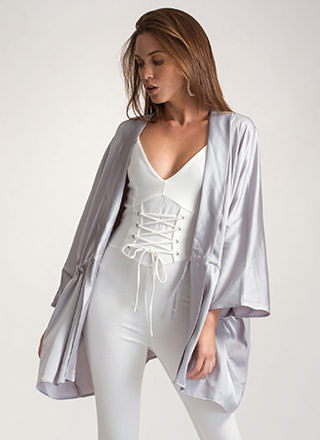 Swoon-er Or Later Satin Kimono Jacket