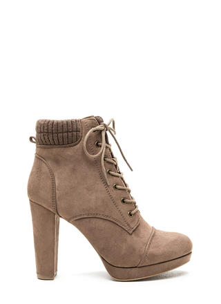 Knit Pick Faux Suede Lace-Up Booties
