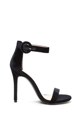 Dusk To Dawn Velvet Single Strap Heels